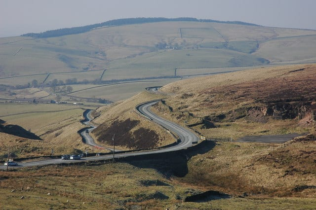 Cat and Fiddle A537 England, UK, one of the UK's most dangerous roads
