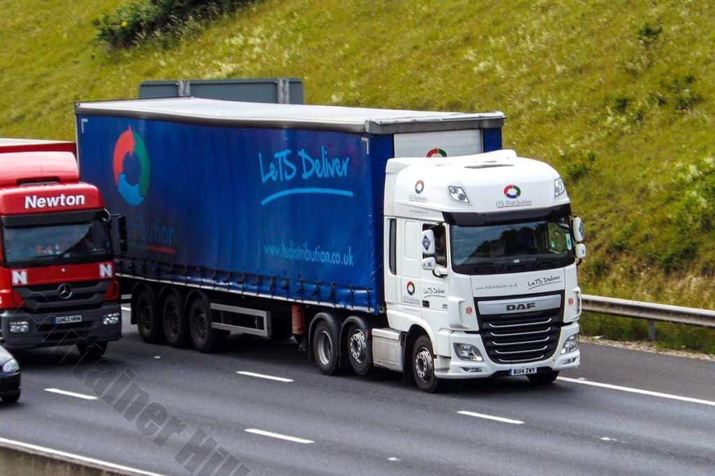 An LTS truck on the inside lane of the motorway