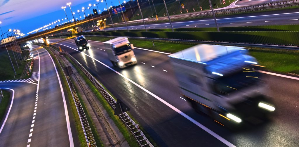 Lorries on four lane controlled-access highway