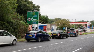 Queues form at petrol forecourts in the UK